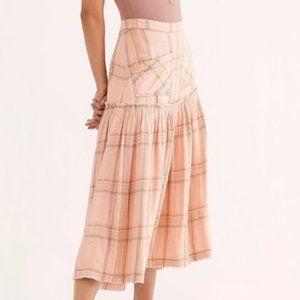 NWT Free People Plaid Fever Soft Peach Midi Skirt